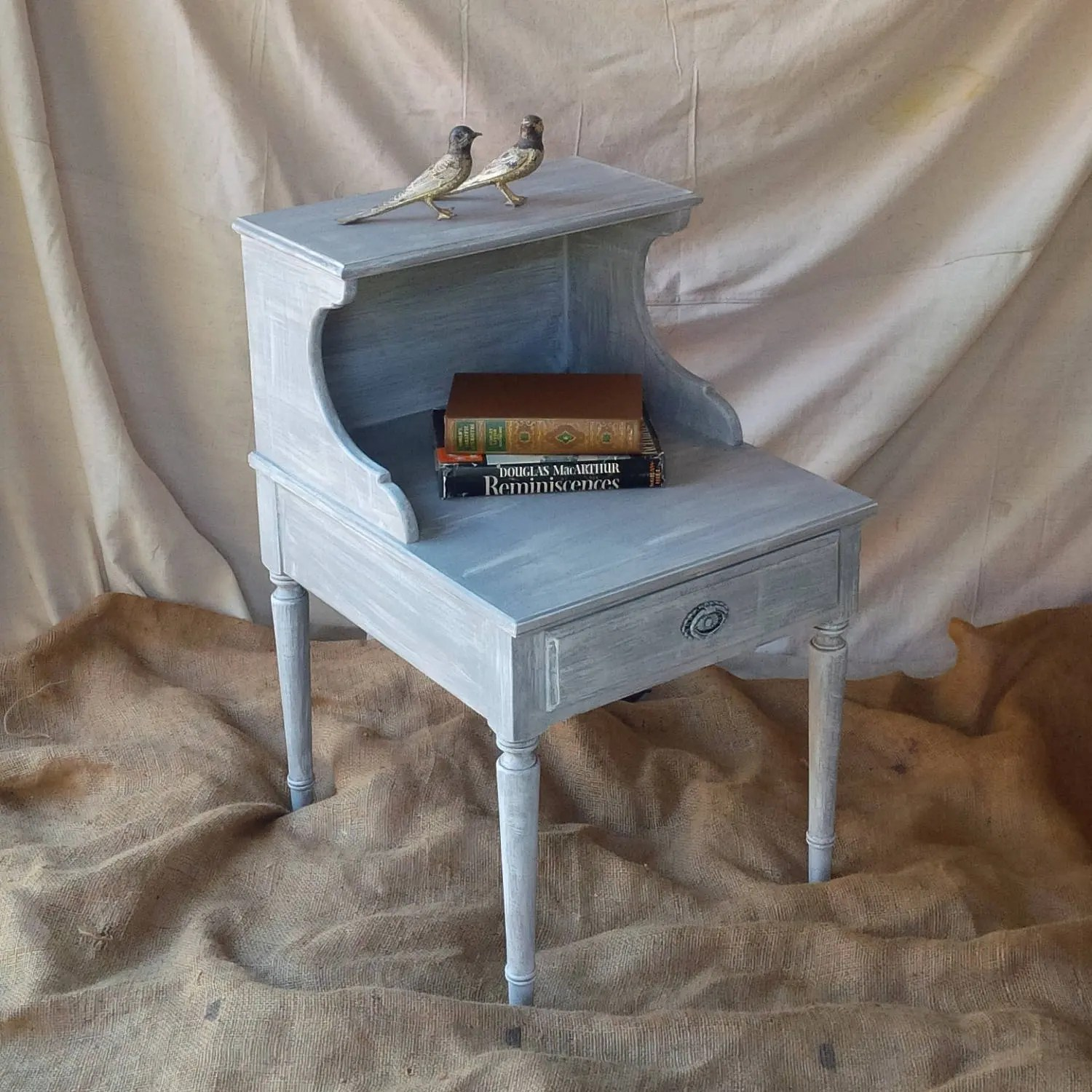 Nightstand Accent Table In Grey Wash Distress Finish Solid Maple Vintage Coastal Beach Cottage Shabby Chic Poppy Cottage Painted Furniture