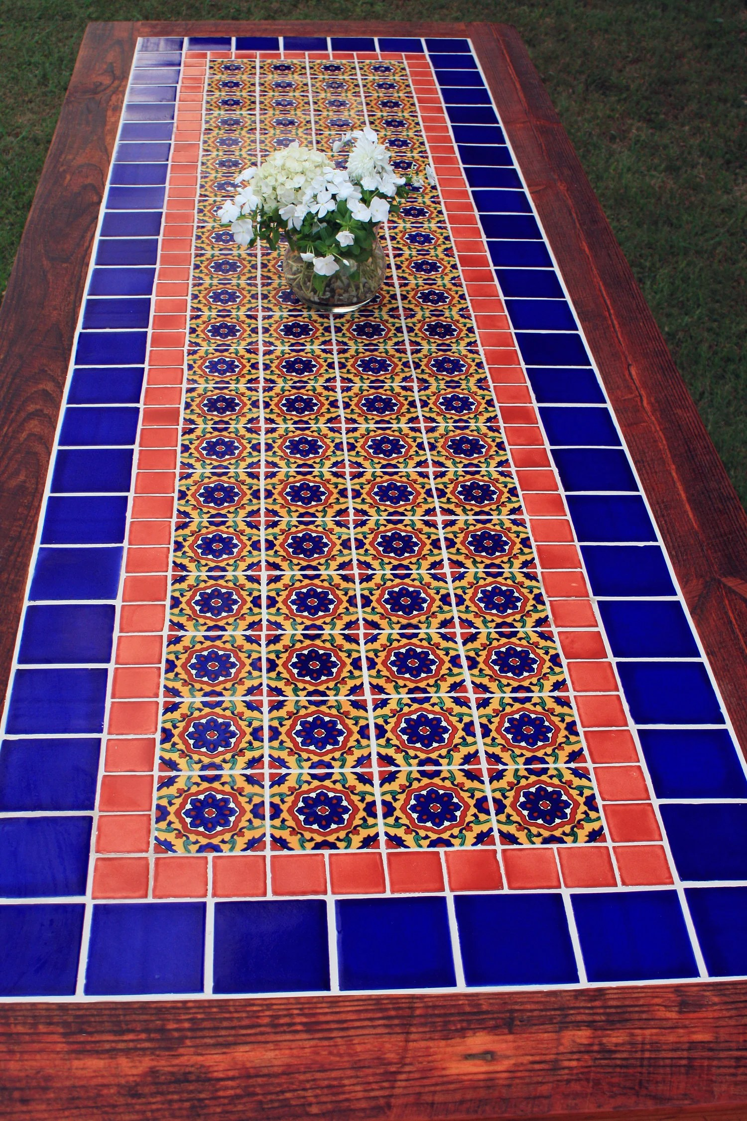 talavera tile dining table very large dining table mexican tile dining table 114 l x 41 w x 30 t brazilian rosewood sierra finish