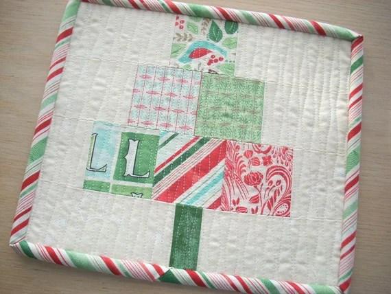 everygreen Christmas tree mini quilt snack mat pattern