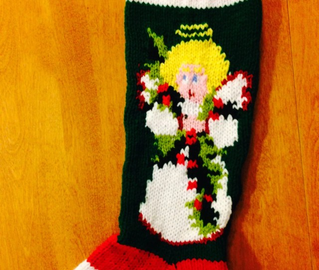 Angel Christmas Stocking Personalized Angel Stocking Angel Knit Stocking Custom Stocking Angel Personalized Stocking