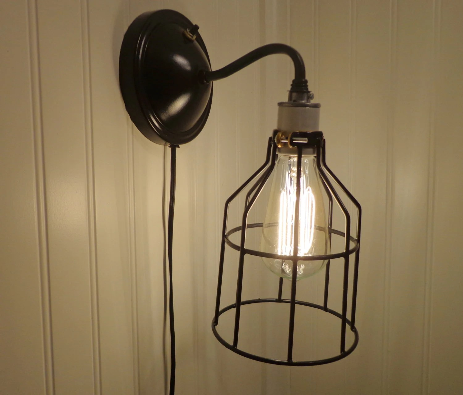 Industrial Wall LIGHTING SCONCE Plug-In with Edison Bulb ... on Plugin Wall Sconce Lights id=40872