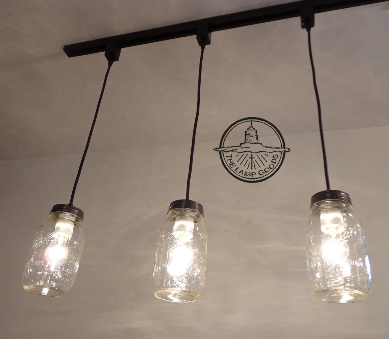 mason jar track lighting pendant new quart trio chandelier etsy