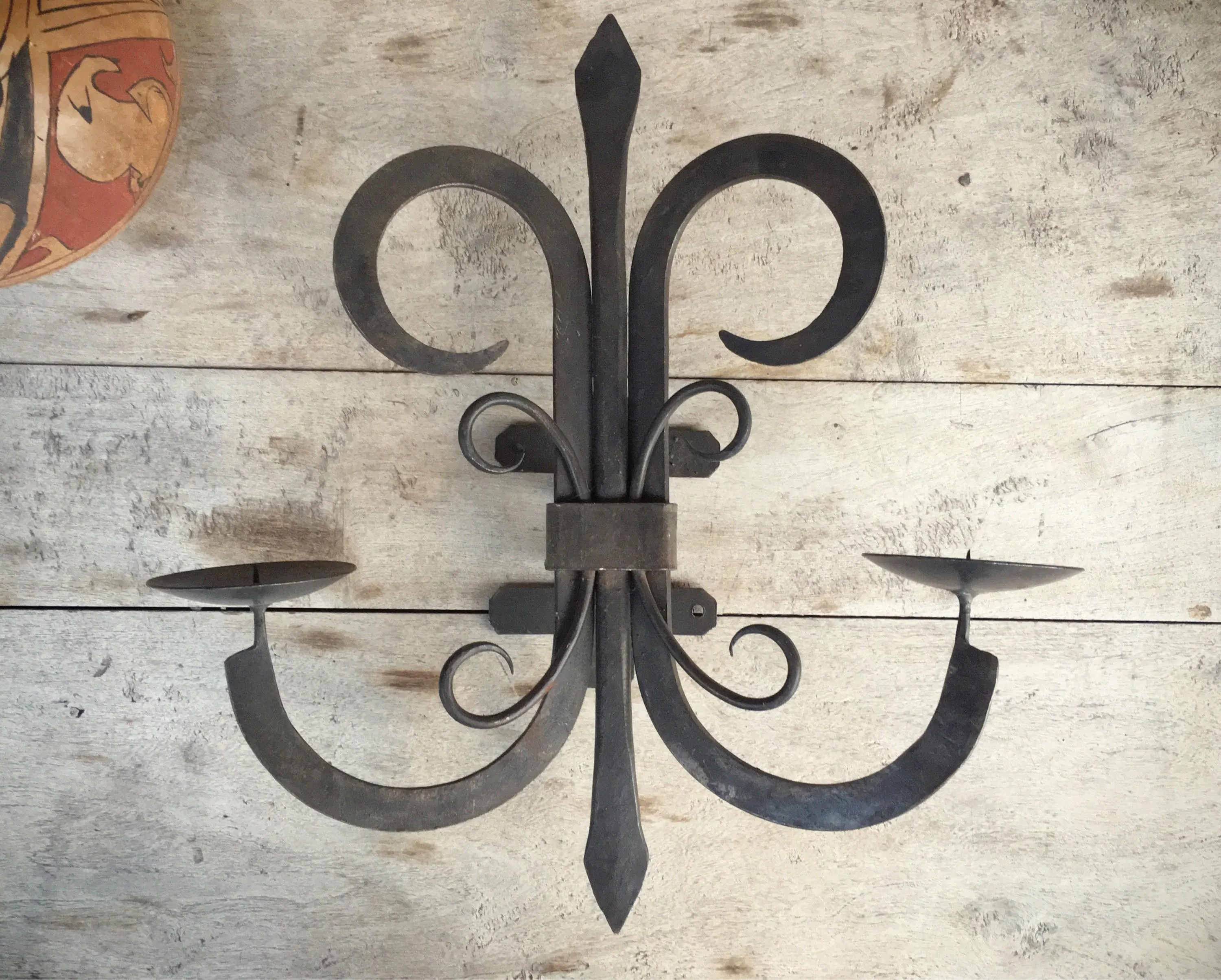 Vintage Mexican rustic candle sconce, wall mounted wrought ... on Antique Wrought Iron Wall Candle Holders id=16394