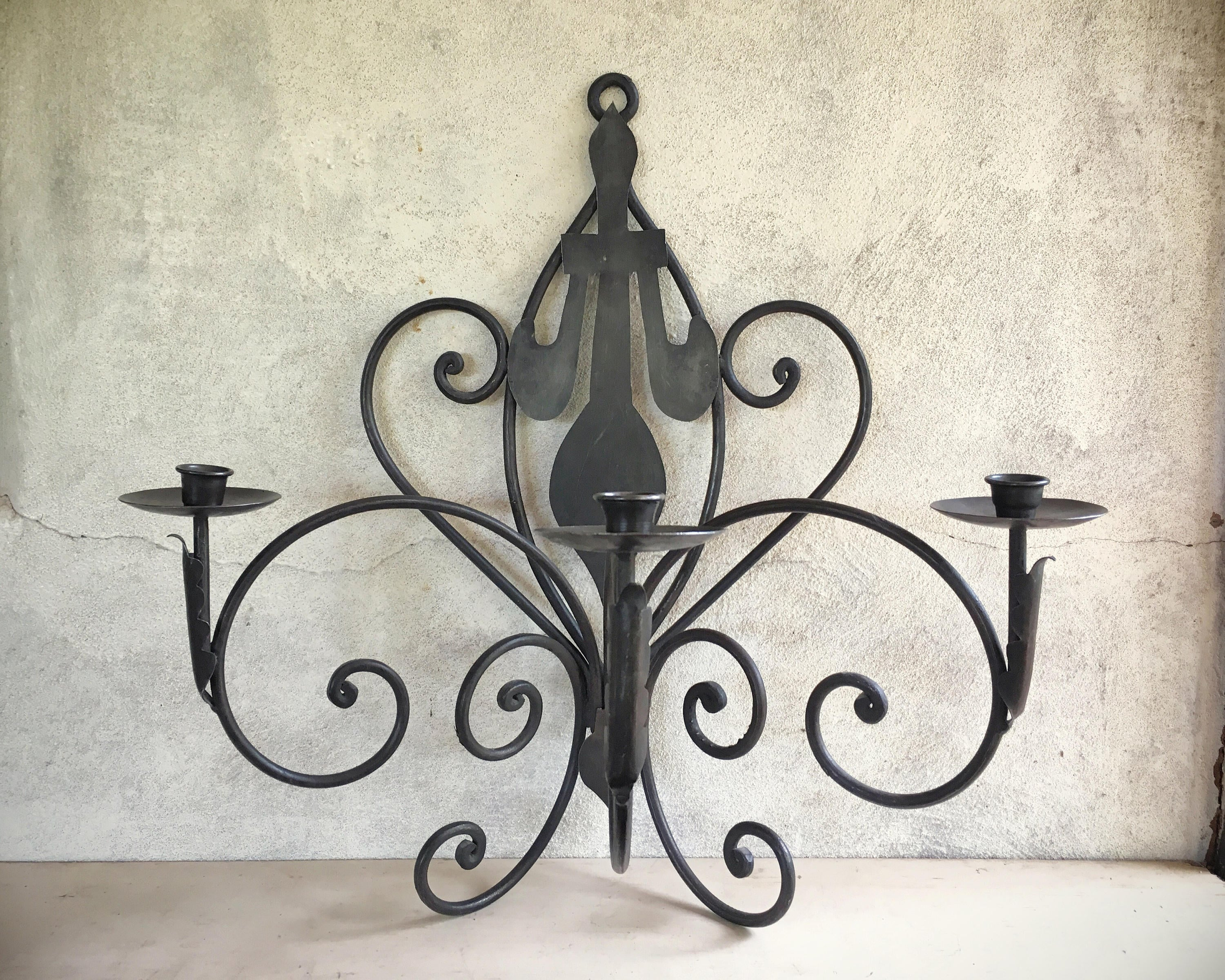 Large Vintage Rustic Candle Sconce Decorative Wall Sconce ... on Large Wall Sconces Candle Holders Decorative id=86958