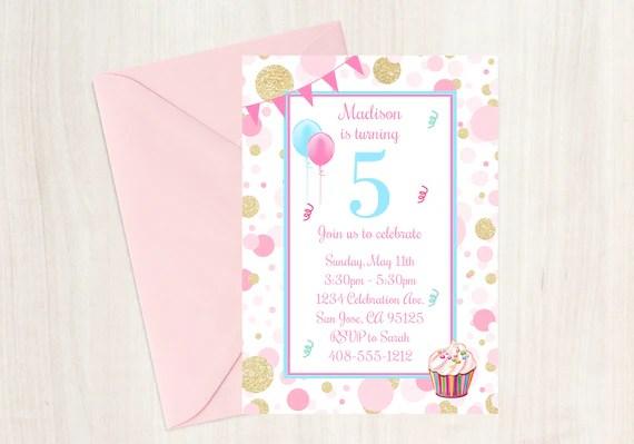 5th birthday party invitation 5th