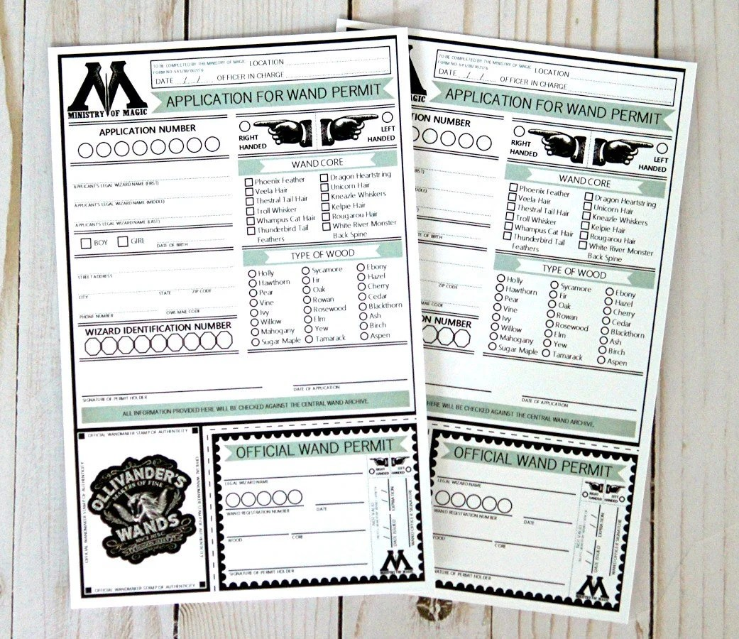 Harry Potter Inspired Printable Wand Permits