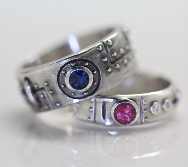 Steampunk wedding ring set sterling silver diamond blue sapphire and pink tourmaline settings made in NYC.