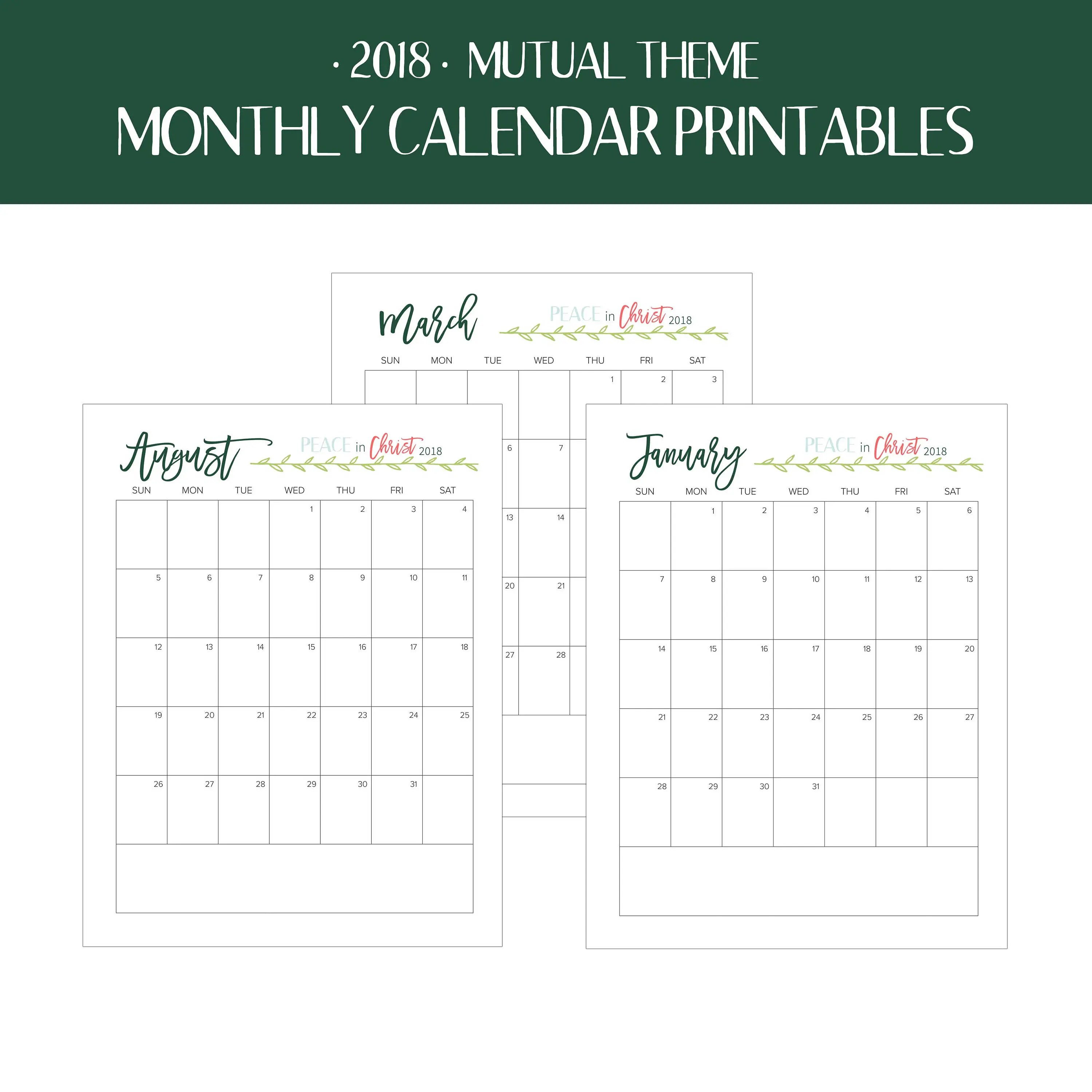 Mutual Theme Calendar Printables Peace In Christ Young