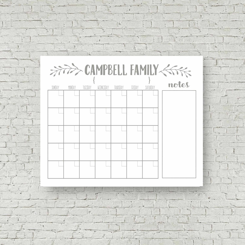 Dry Erase Calendar Printable Custom Perpetual