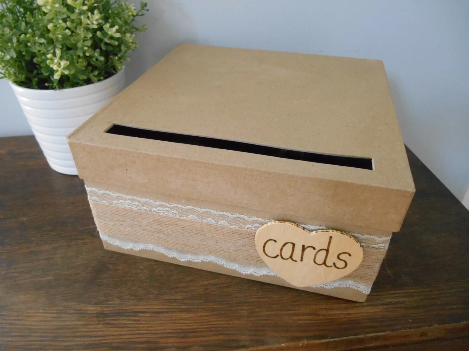 Items Similar To Rustic Wedding Card Box With Lace And