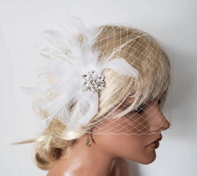 wedding headpiece and bridal veil, hair clip, hairpiece, feather fascinator, feather hair clip, wedding veils