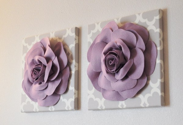TWO Wall Flowers Gray Dahlia on White and White Rose on ...