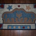 Rug Hooking Pattern Hooked Rug Pattern Horse Two Horses Stars Primitive Folk Hand Drawn On Linen