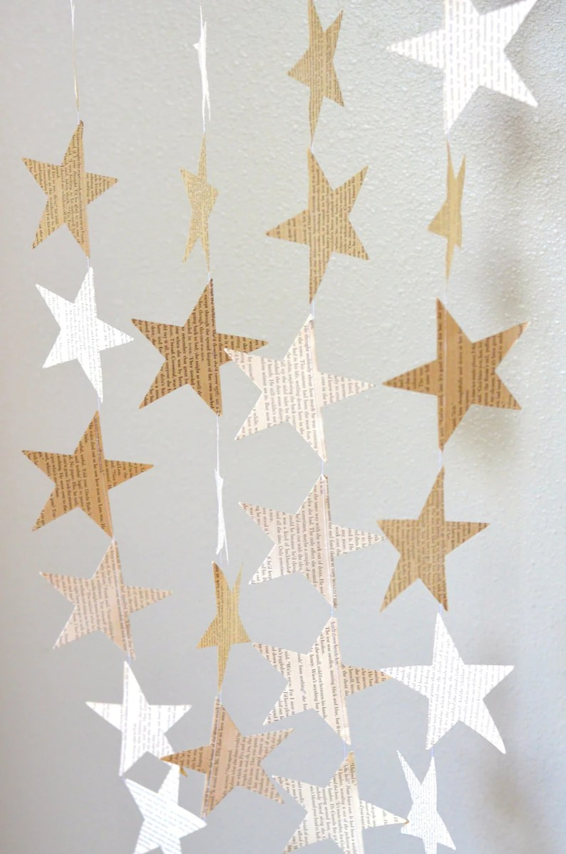 Vintage Book Paper Star Garland. Perfect for wedding bridal image 0