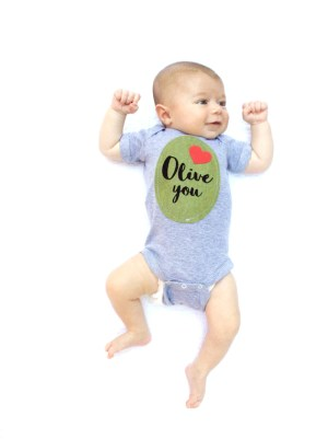 """""""Olive You"""" Baby Shirt with olive applique"""