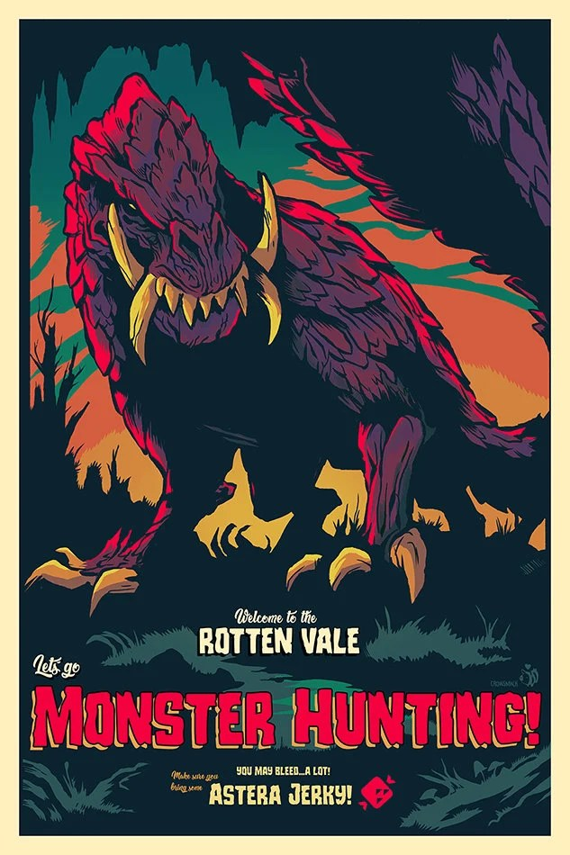 rotten vale let es go monster jagd odogaron blut welpen videospiel poster monster jager poster videospiel kunst gaming poster