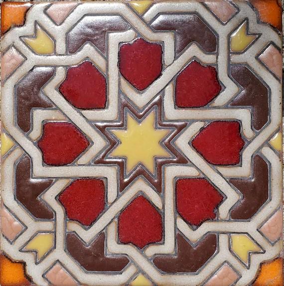 decorative handpainted tile 6x6 marakesh moorish tile etsy