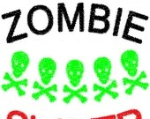 Zombie slayer embroidery design, Zombie slayer digitized embroidery design