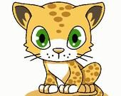 Cartoon leopard digital embroidery design, Leopard digitized embroidery design