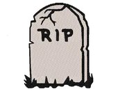 Halloween grave stone digital embroidery design, Halloween grave stone digitized embroidery design