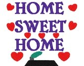 Home sweet home digital embroidery design, Home sweet home digitized embroidery design