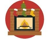 Christmas fireplace digital embroidery design, Fireplace digitized embroidery design