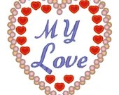 My love heart embroidery applique design, Heart digitized embroidery design