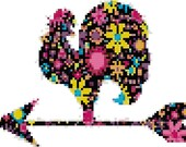 Cross stitch rooster floral design pdf pattern