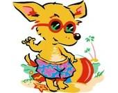 Beach fox embroidery design, Fox digitized embroidery design