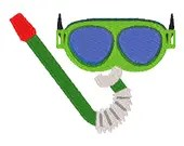 Snorkel and mask digital embroidery design, Snorkel and mask digitized embroidery design