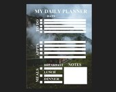 Planner for daily activity with outdoors scene background pdf template