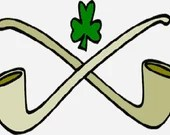 St Patrick's day pipes and shamrock digital embroidery design, St patricks day digitized embroidery design
