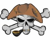 Pirate skull smoking digital embroidery design, Pirate skull digitized embroidery design