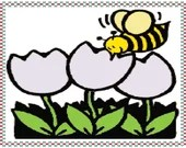 Bee and flowers with border cross stitch pattern pdf