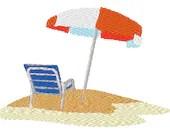 Beach scene digital embroidery design, Beach digitized embroidery design