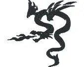 Tribal dragon digital embroidery design, Dragon digitized embroidery design