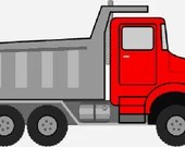 Dump truck digital embroidery design, Truck digitized embroidery design