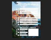 Daily planner with Manarola Italy background pdf template