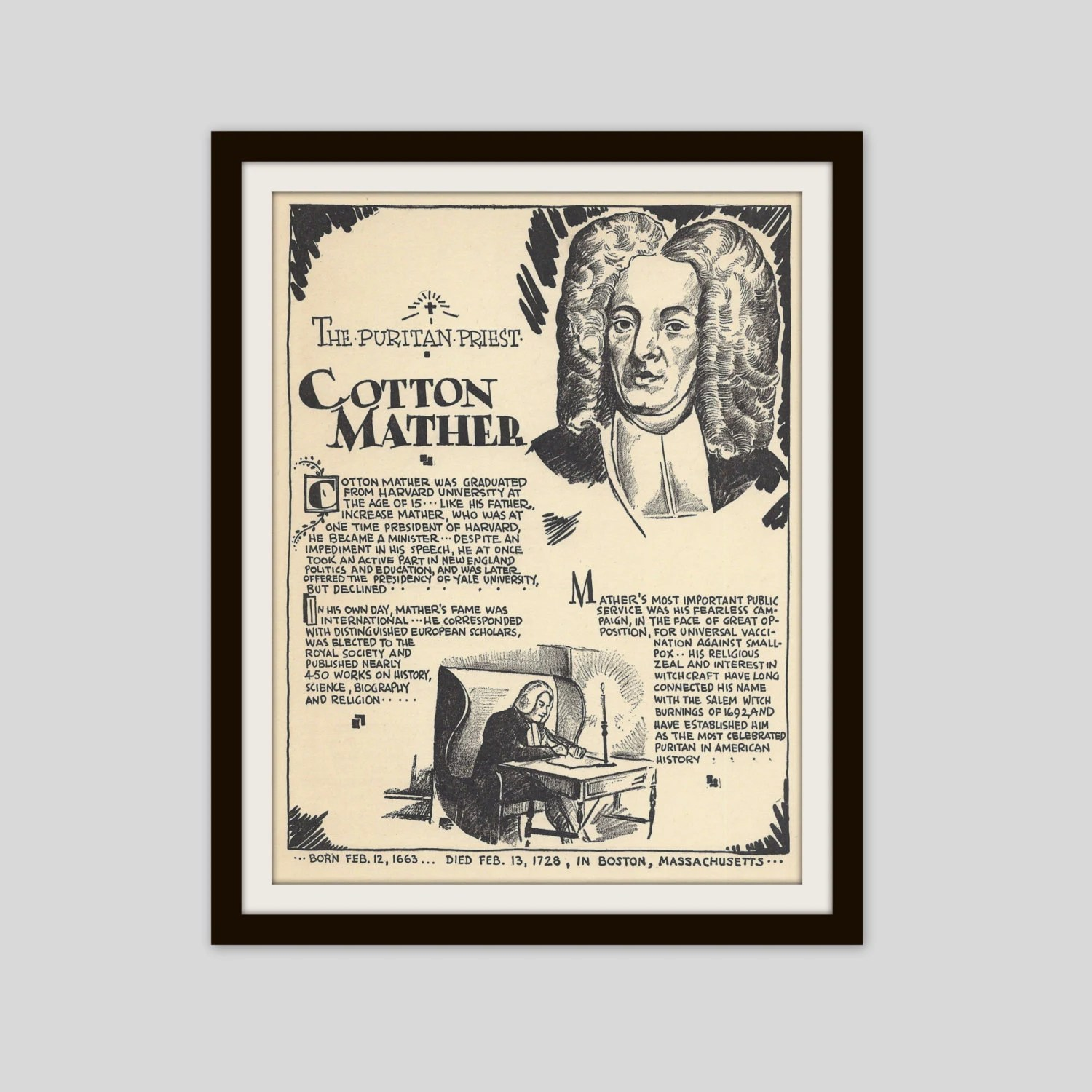 Cotton Mather Vintage Art Print Teacher T Salem Witch