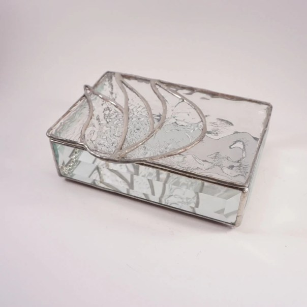 Clear Stained Glass Jewelry Box, Abstract Stained Glass, Glass trinket box, clear texture stained glass, modern stained glass, shin, judaica