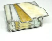 Amber Stained Glass Box, Amber Geometric Stained Glass Box, pale brown glass, earth tone glass box, bat mitzvah gift, housewarming gift