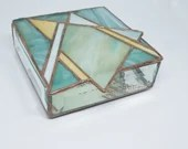 Stained Glass Jewelry Box, teal stained glass box, Star of David, Stained Glass Judaica, Bat Mitzvah gift, stained glass trinket box