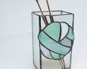 Stained Glass box, Vintage Knitting Needles, Knitting needle Vase, ombre yarn, teal stained glass, gift for knitter, ball of yarn, gray teal