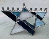 Stained Glass Chanukah Menorah, Star of David Menorah, Judaica, denim blue stained glass, Hanukkah Menorah, glass art, wedding gift