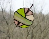 Colorful Stained Glass Ball of Yarn, Yarn Balls, Stained Glass Sun Catcher, Crochet sun catcher, gift for knitter, fiber lover, ombre yarn