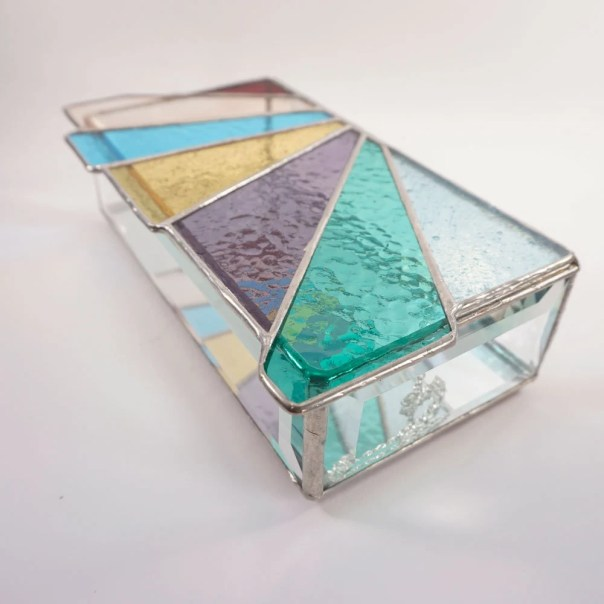 Stained glass box, stained glass jewelry box, contemporary stained glass, pastel rainbow stained glass, glass jewelry box, rainbow glass