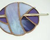 Stained Glass Ball of Yarn, Yarn Balls, Stained Glass Sun Catcher, Crochet sun catcher, gift for crocheter, purple glass, fiber art