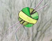 Earthy Green Stained Glass Ball of Yarn, Stained Glass Sun Catcher, ombre yarn, gift for knitter, Earthy green ombre yarn, fiber gift