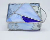 Blue Stained Glass Jewelry Box, Trinket Box, sky blue box, triangle box, circle stained glass, cobalt blue glass, mothers day gift