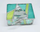 Turquoise, Lime, White and Bevel Stained Glass Box, mothers day gift, bat mitzvah gift, summer colors, bright stained glass box, jewelry box